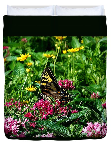 Duvet Cover featuring the photograph Eastern Tiger Swallowtail  by Chris Mercer