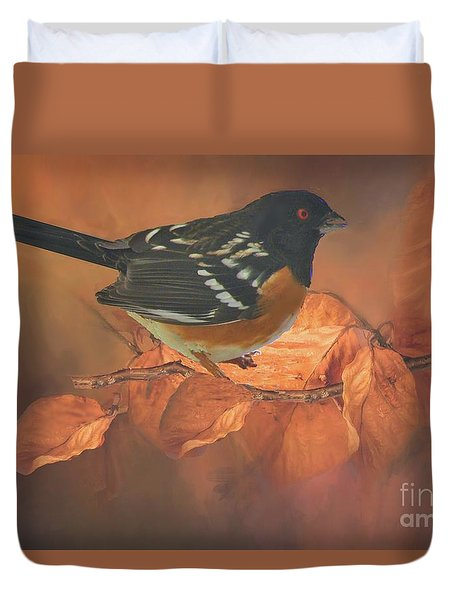 Spotted Towhee In Autumn Duvet Cover by Janette Boyd