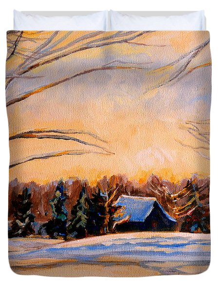 Eastern Townships In Winter Duvet Cover by Carole Spandau