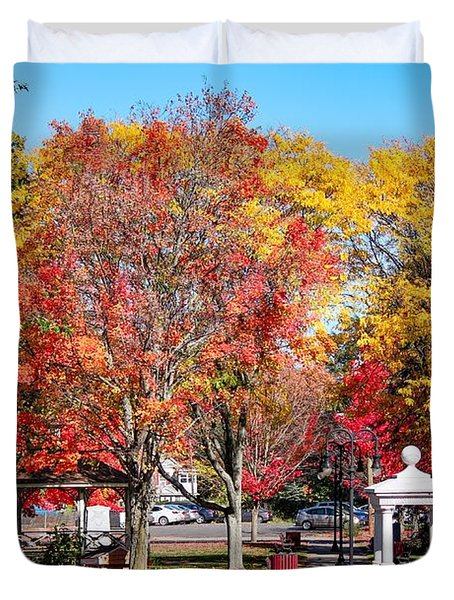 Easthampton Center In The Fall Duvet Cover