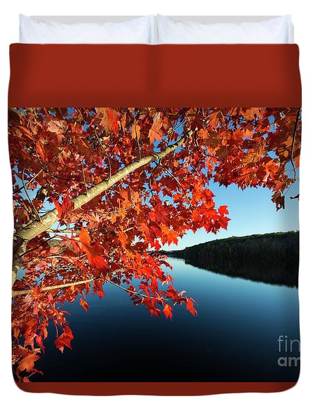 Duvet Cover featuring the photograph Eastman Pond Grantham New Hampshire October by Edward Fielding