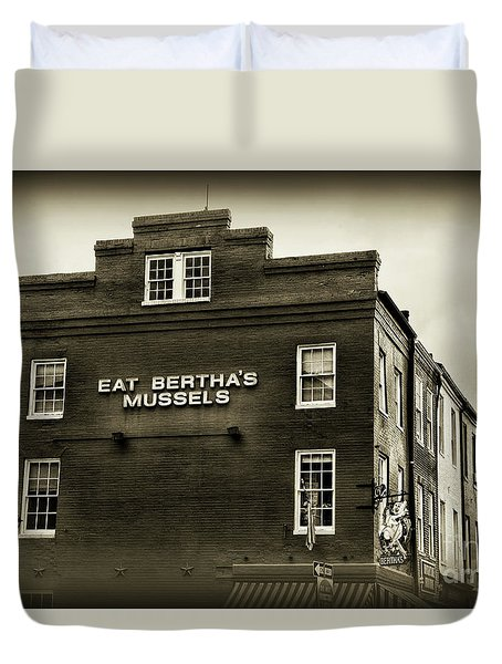 Eat Berthas Mussels In Black And White Duvet Cover by Paul Ward
