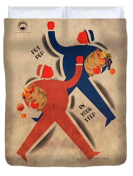 Eat More Fruit - Vintage Poster Vintagelized Duvet Cover