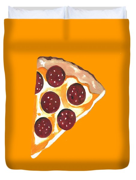 Duvet Cover featuring the mixed media Eat Pizza by Kathleen Sartoris