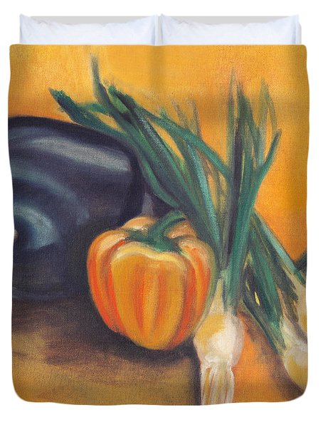 Duvet Cover featuring the painting Eat Your Vegetables by Shawna Rowe