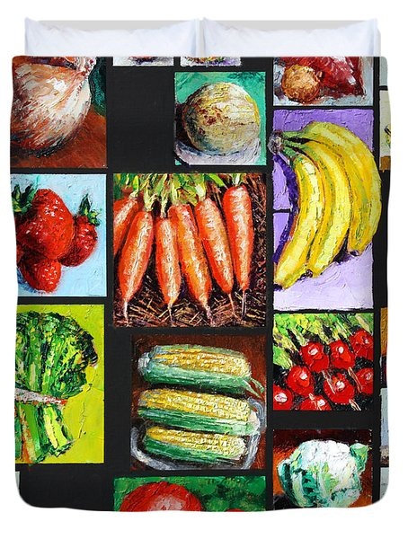 Eat Your Vegies And Fruit Duvet Cover by John Lautermilch