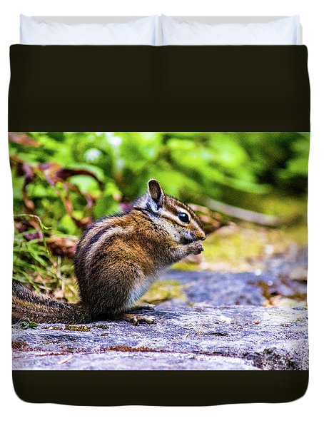 Duvet Cover featuring the photograph Eating Chipmunk by Jonny D
