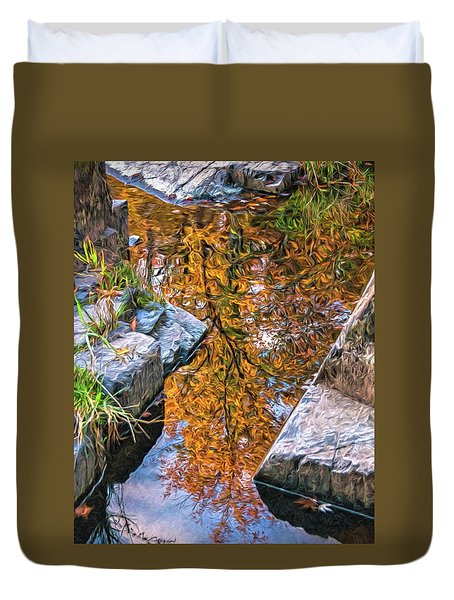 Duvet Cover featuring the photograph Eau Claire Dells Fall Reflection by Trey Foerster