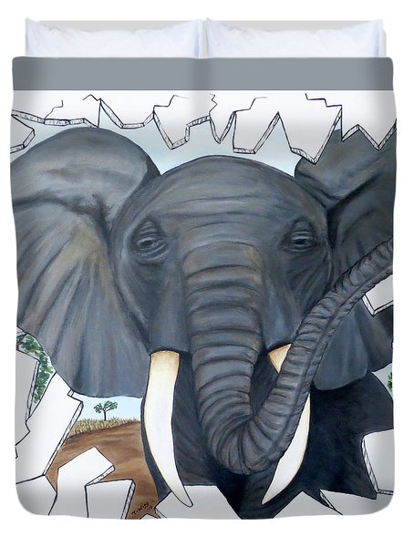 Duvet Cover featuring the painting Eavesdropping Elephant by Teresa Wing