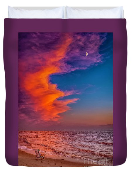 Duvet Cover featuring the photograph Evening Fishing On The Beach by Nick Zelinsky
