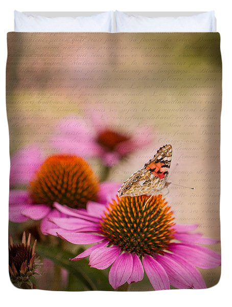Echinacea And Butterfly Duvet Cover