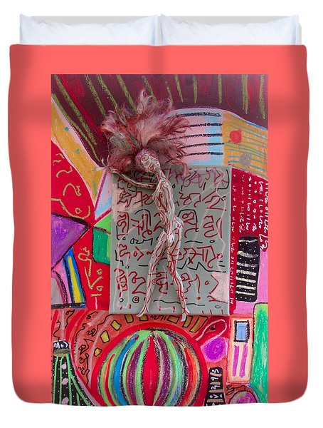 Duvet Cover featuring the painting Echinacea Herbal Tincture by Clarity Artists