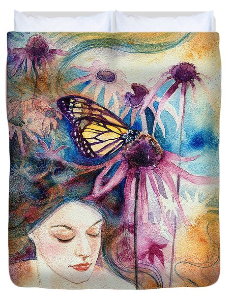 Duvet Cover featuring the painting Echinacea by Ragen Mendenhall