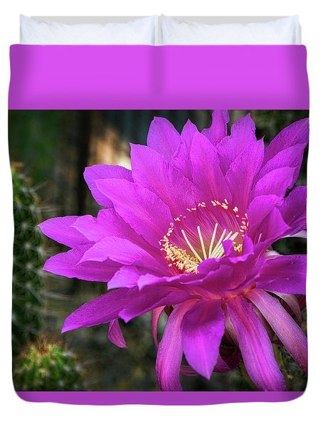 Duvet Cover featuring the photograph Echinopsis In Hot Pink  by Saija Lehtonen