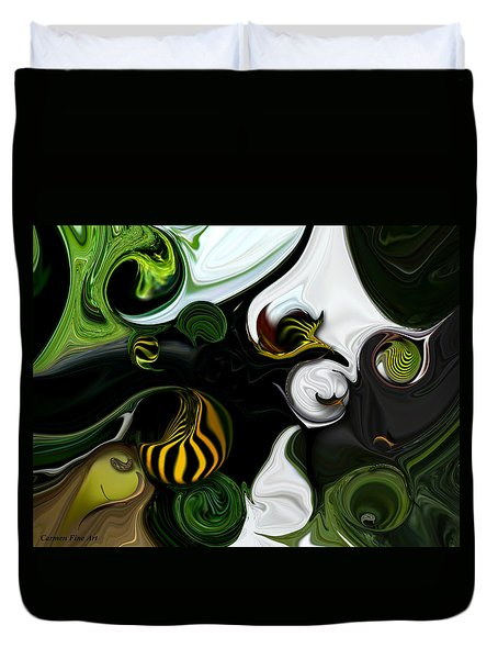 Duvet Cover featuring the digital art Echo And Feeling by Carmen Fine Art