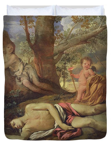 Echo And Narcissus  Duvet Cover by Nicolas Poussin