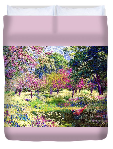 Echoes From Heaven, Spring Orchard Blossom And Pheasant Duvet Cover