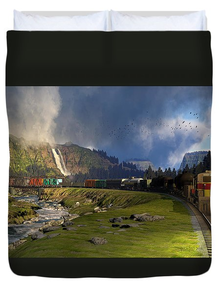 Echoes From The Caboose Duvet Cover