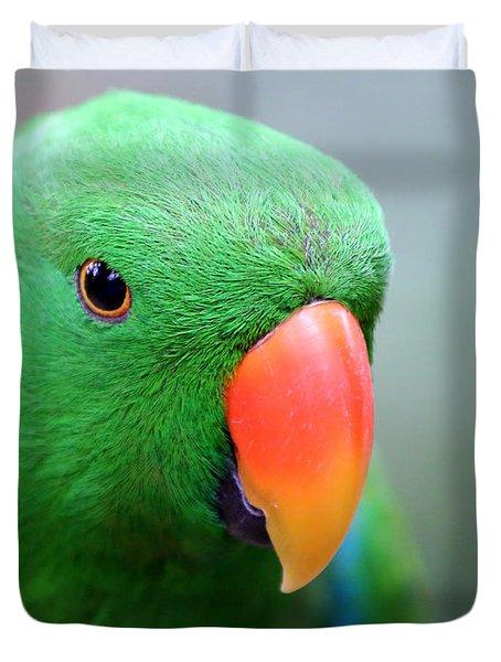 Eclectus Parrot Portrait Duvet Cover