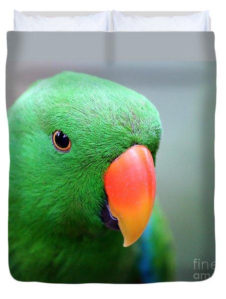 Duvet Cover featuring the painting Eclectus Parrot Portrait by Sue Harper