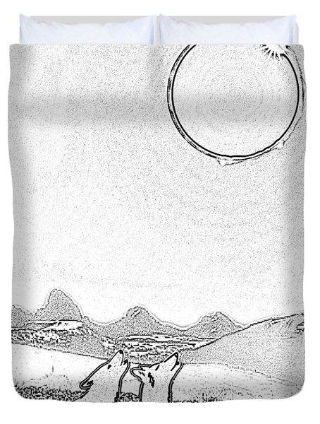 Eclipcse Graphic Pen Outline Duvet Cover