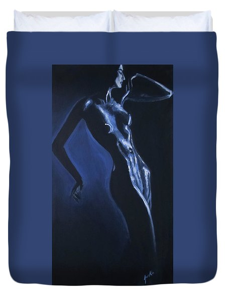 Duvet Cover featuring the painting Eclipse by Jarko Aka Lui Grande