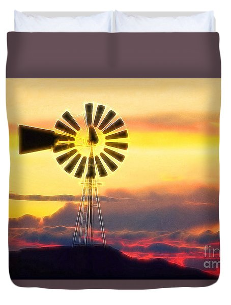 Eclipse Windmill In The Sunset Clouds Duvet Cover