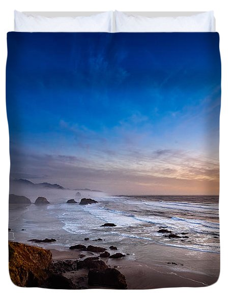 Ecola State Park At Sunset Duvet Cover