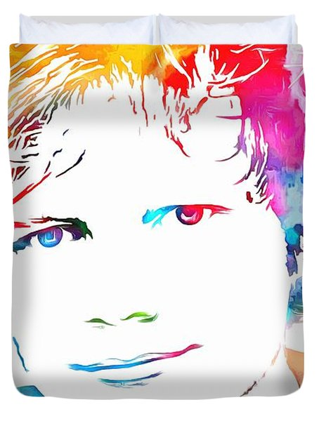 Ed Sheeran Paint Splatter Duvet Cover by Dan Sproul