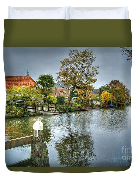 Edam Waterway In Holland Duvet Cover