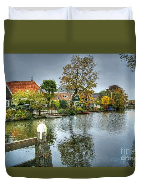 Edam Waterway In Holland Duvet Cover