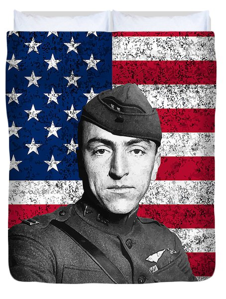 Eddie Rickenbacker And The American Flag Duvet Cover by War Is Hell Store