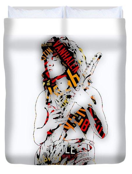 Eddie Van Halen Everybody Want's Some Lyrics Duvet Cover by Marvin Blaine