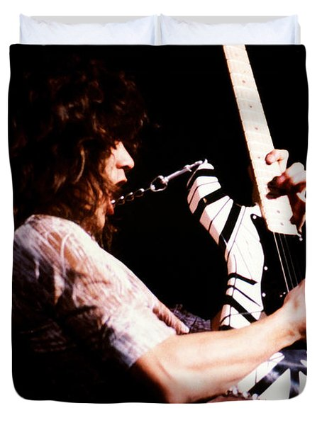 Eddie Van Halen - Van Halen 143 Duvet Cover by Vintage Rock Photos