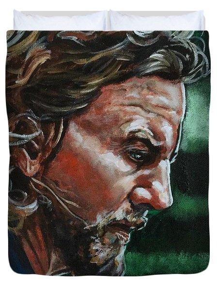 Duvet Cover featuring the painting Eddie Vedder by Joel Tesch