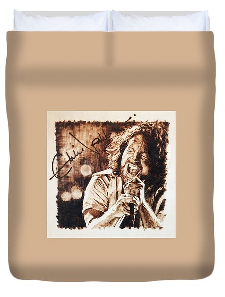 Duvet Cover featuring the pyrography Eddie Vedder by Lance Gebhardt