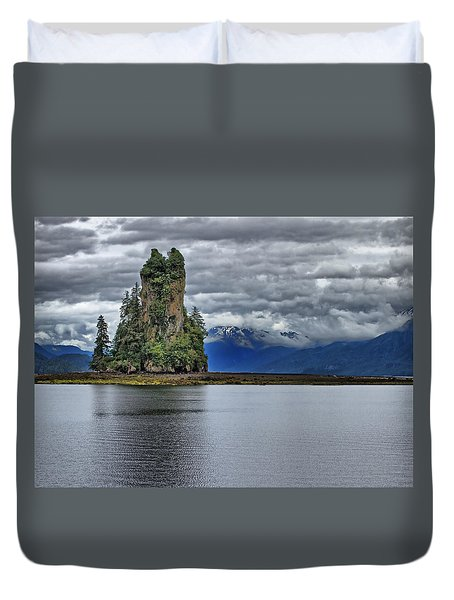 Eddystone Rock In Misty Fjords National Monument Duvet Cover