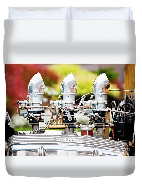 Duvet Cover featuring the photograph Edelbrock Side View by Chris Dutton