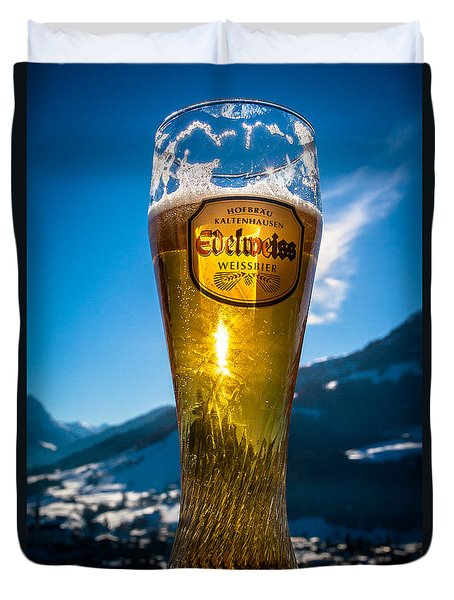 Duvet Cover featuring the photograph Edelweiss Beer In Kirchberg Austria by John Wadleigh