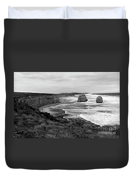 Edge Of A Continent Bw Duvet Cover