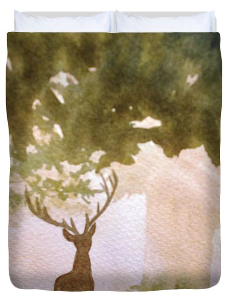 Edge Of The Forrest Duvet Cover by Marilyn Jacobson