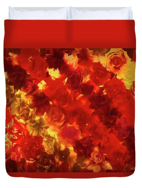 Edgy Flowers Through Glass Duvet Cover