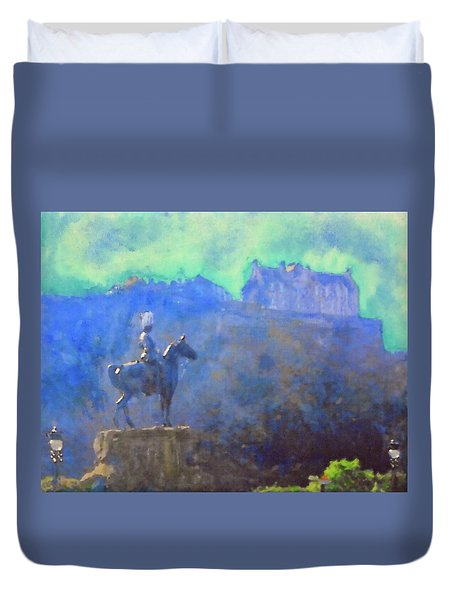 Edinburgh Castle Horse Statue Duvet Cover by Richard James Digance