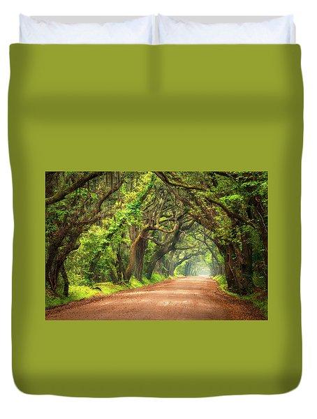 Edisto Island South Carolina Dirt Road Landscape Charleston Sc Duvet Cover