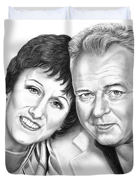 Edith And Archie Bunker Duvet Cover by Murphy Elliott