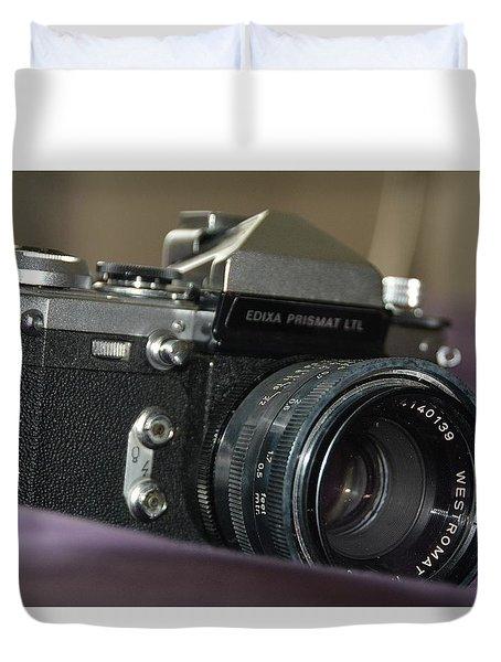 Duvet Cover featuring the photograph Edixa Prismat L T L by John Schneider