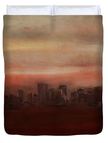 Edmonton At Sunset Duvet Cover