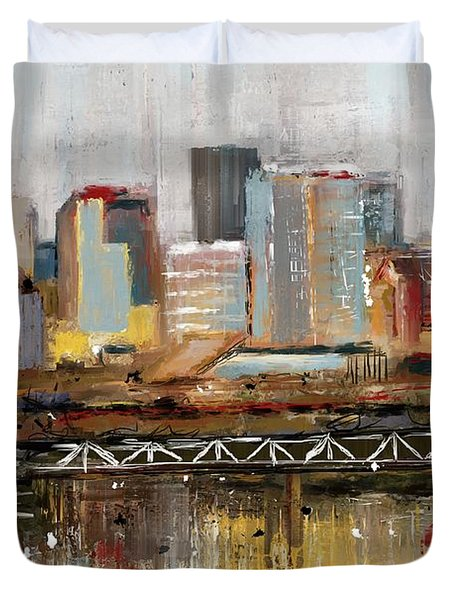 Edmonton Skyline Abstract1 Duvet Cover