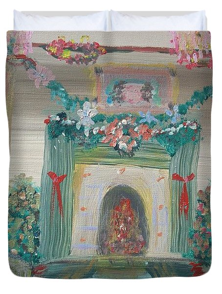 Duvet Cover featuring the painting Edwardian Christmas Eve by Judith Desrosiers