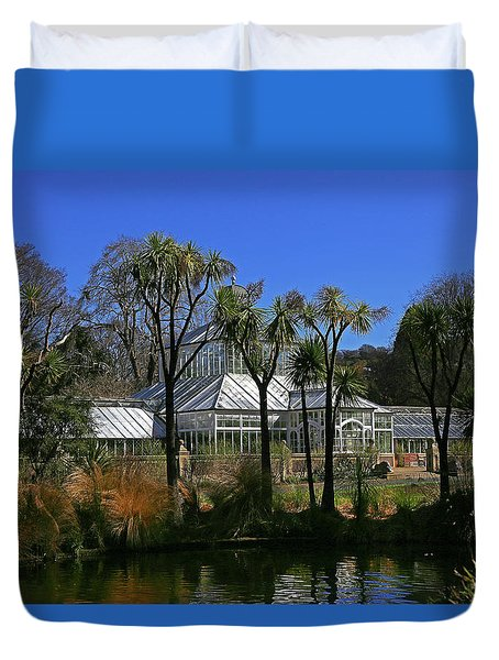 Edwardian Glasshouse With Duck Pond And Cabbage Trees.  Duvet Cover